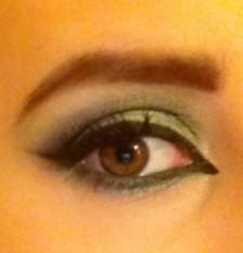 Green makeup eye open